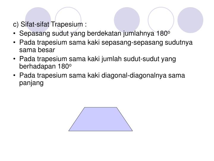 c) Sifat-sifat Trapesium :