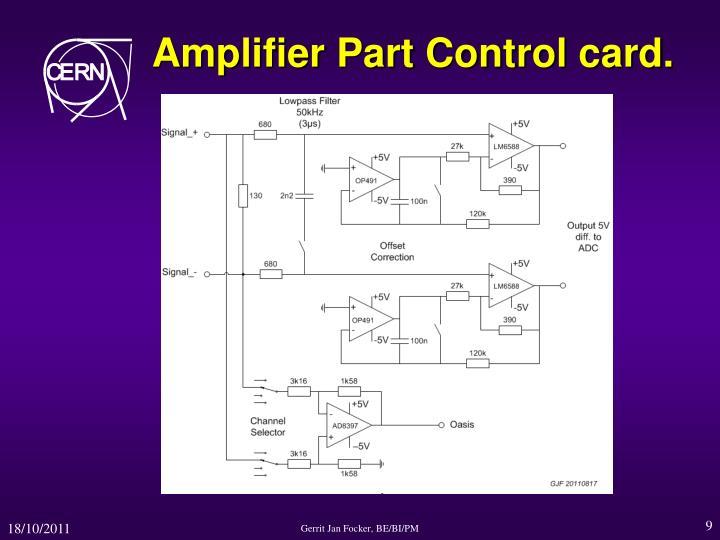 Amplifier Part Control card.