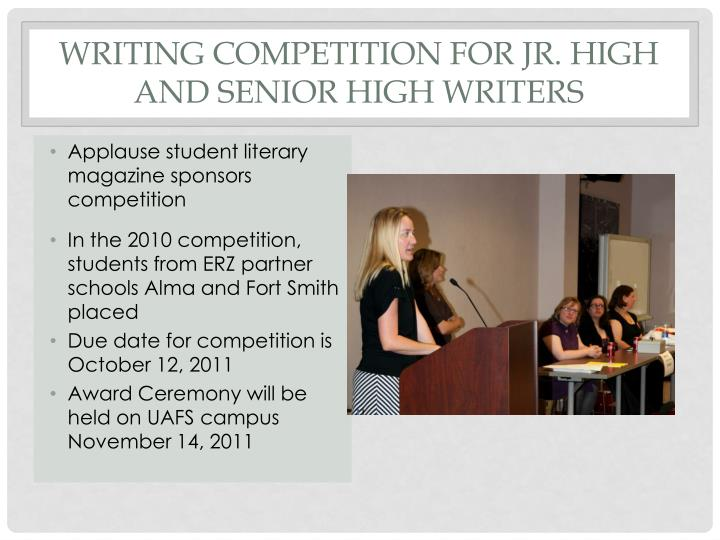Writing competition for Jr. High and Senior high writers