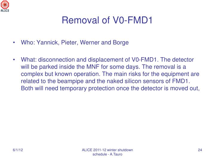 Removal of V0-FMD1