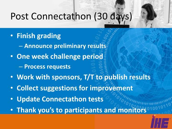 Post Connectathon (30 days)