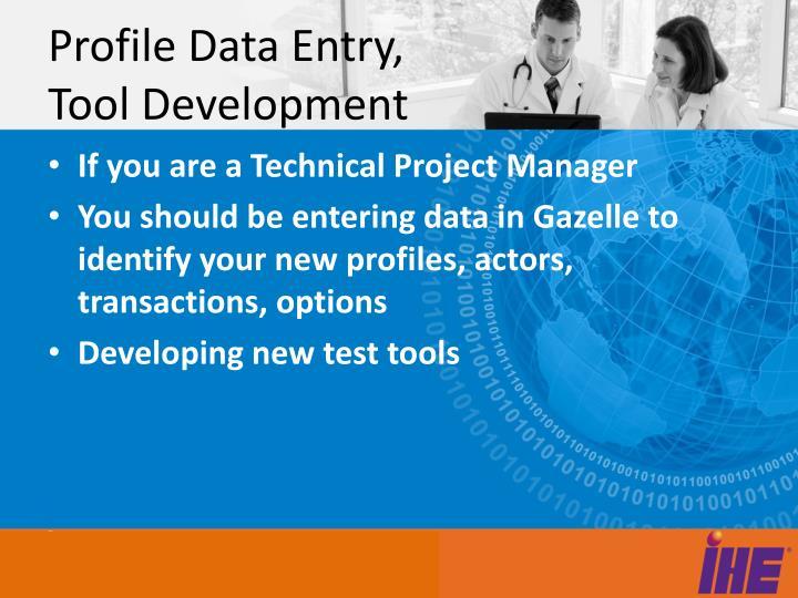 Profile Data Entry, Tool Development