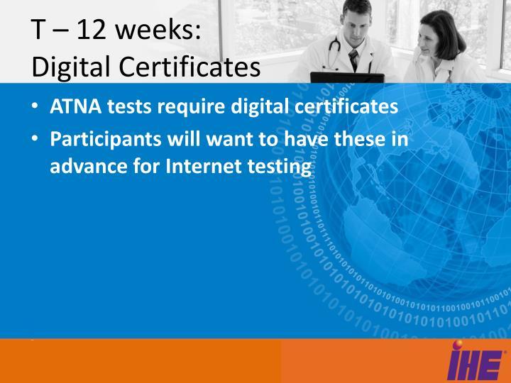 T – 12 weeks: Digital Certificates