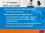 t 12 weeks oids and codes