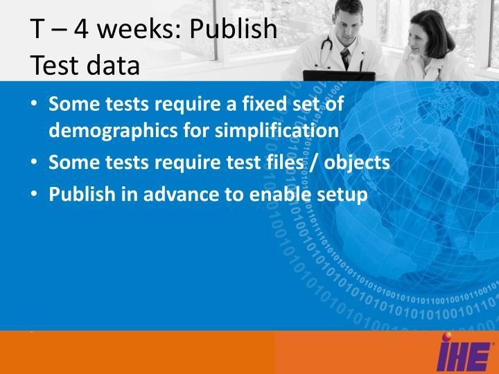 T – 4 weeks: Publish Test data