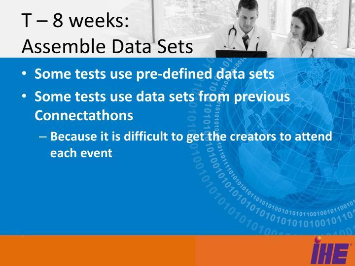T – 8 weeks: Assemble Data Sets