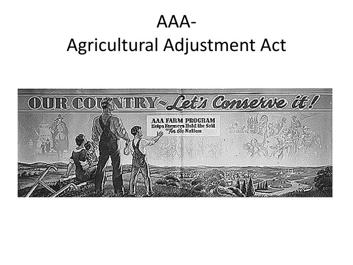 agricultural adjustment act essay Essays progressive era vs new deal the new deal had created the agricultural adjustment act of 1933 which made millions of dollars available to help farmers.