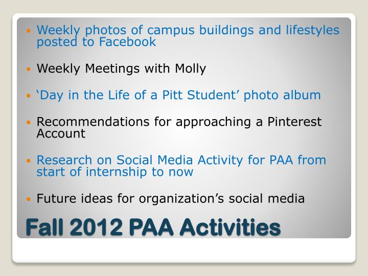 Weekly photos of campus buildings and lifestyles posted to Facebook