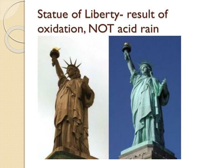 Statue of Liberty- result of oxidation, NOT acid rain