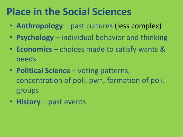 Place in the social sciences