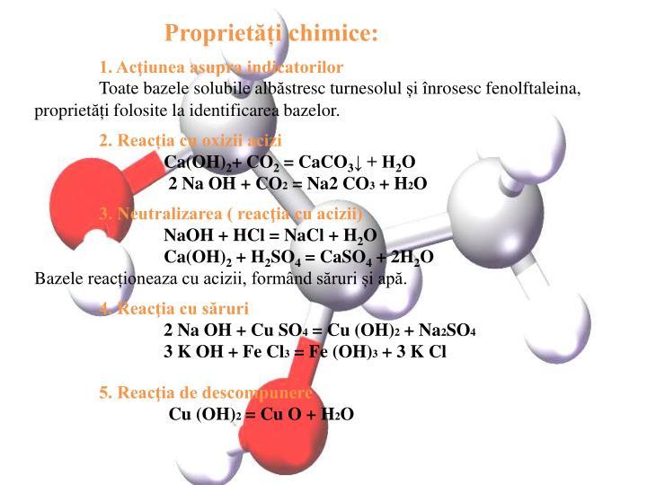 Proprietăți chimice: