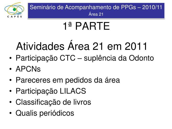 Atividades Área 21 em 2011