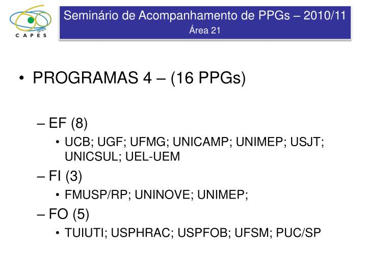 PROGRAMAS 4 – (16