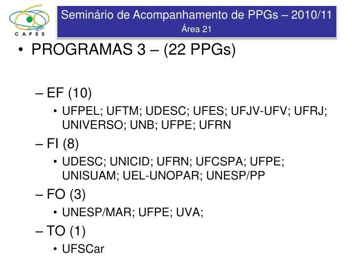 PROGRAMAS 3 – (22