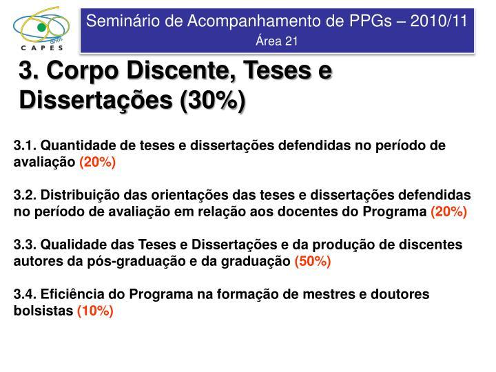 3. Corpo Discente, Teses e Dissertações (30%)