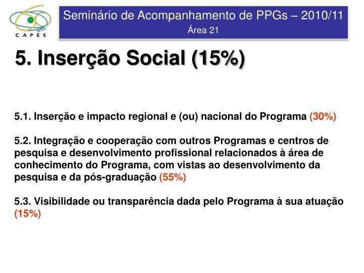 5. Inserção Social (15%)
