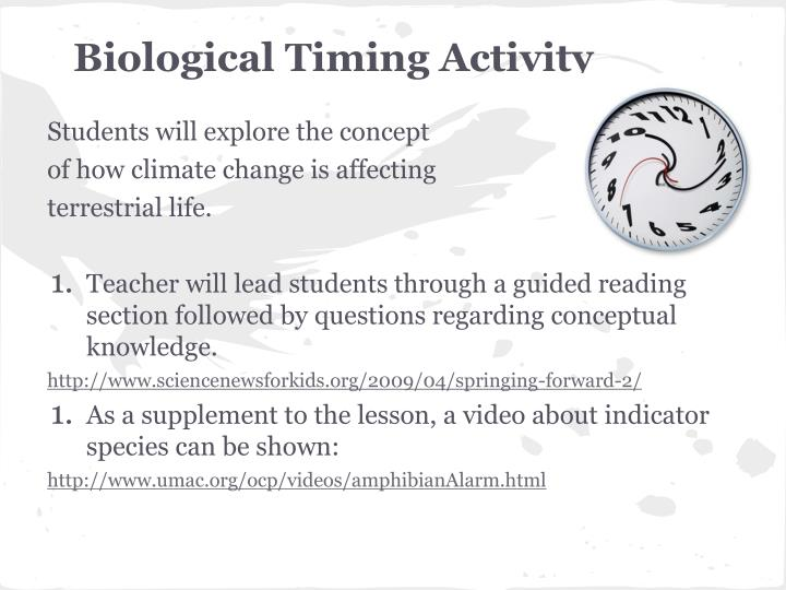Biological Timing Activity
