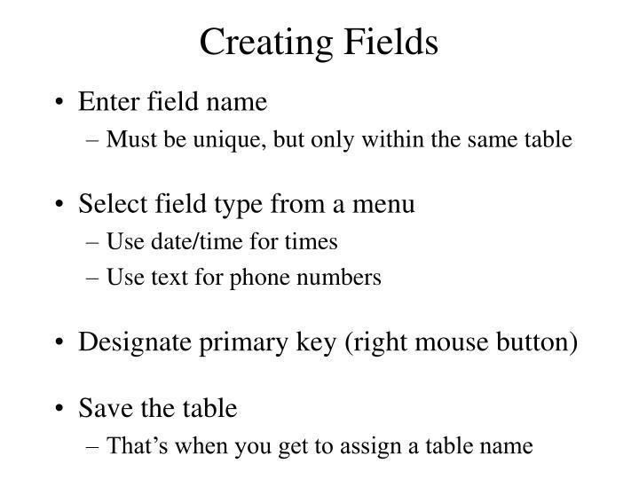 Creating Fields