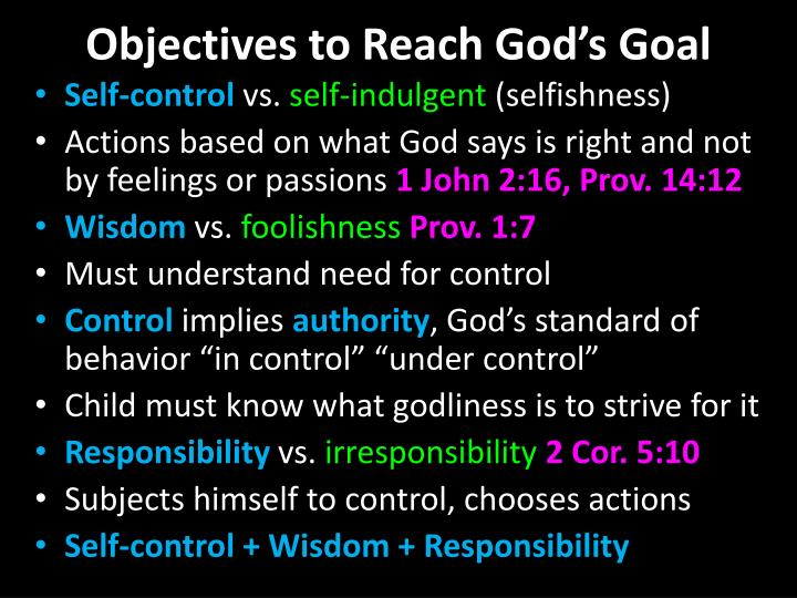 Objectives to Reach God's Goal