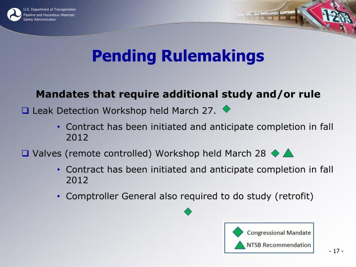 Pending Rulemakings