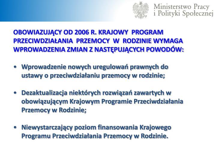 OBOWIAZUJĄCY OD 2006 R. KRAJOWY  PROGRAM