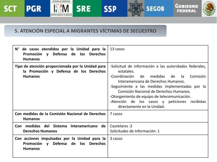 5. ATENCIÓN ESPECIAL A MIGRANTES VÍCTIMAS DE SECUESTRO