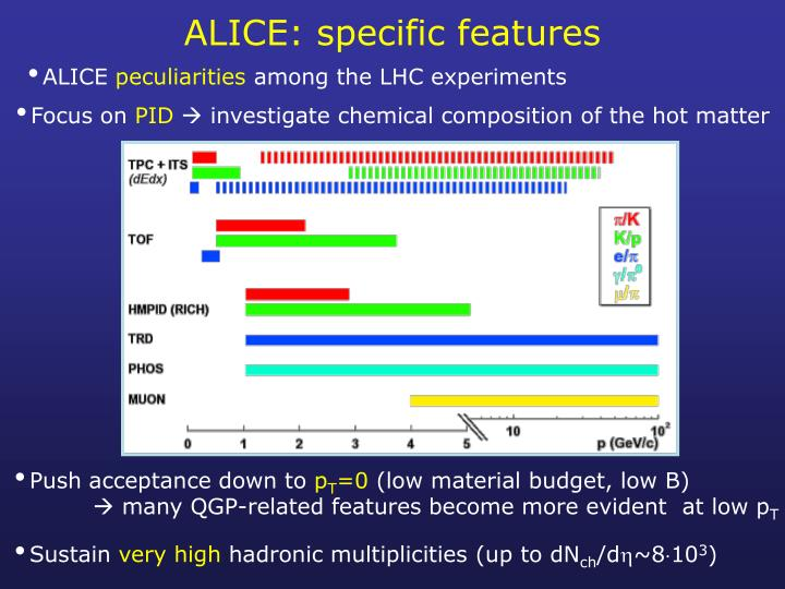 ALICE: specific features