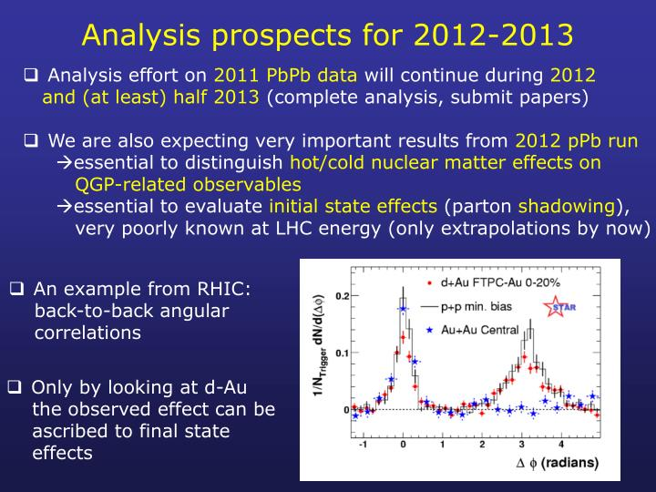 Analysis prospects for 2012-2013