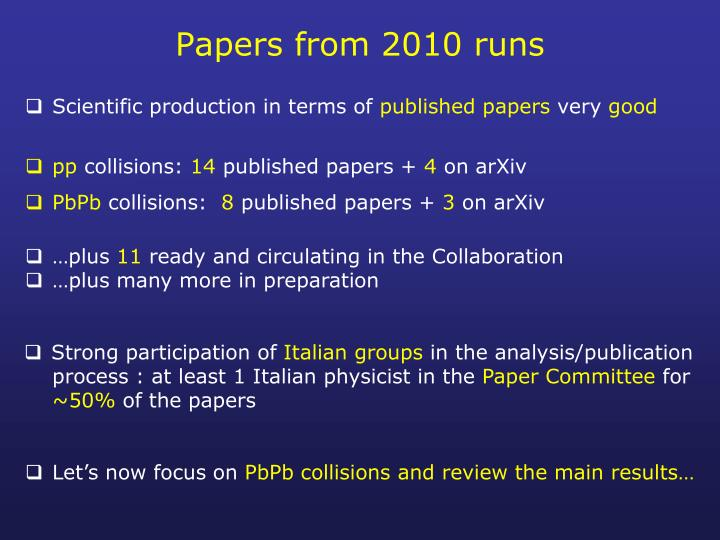 Papers from 2010 runs