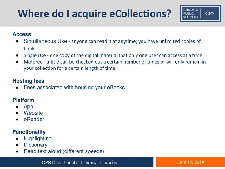Where do I acquire eCollections?