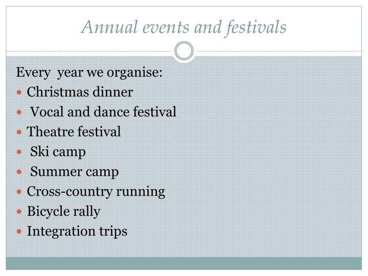 Annual events and festivals