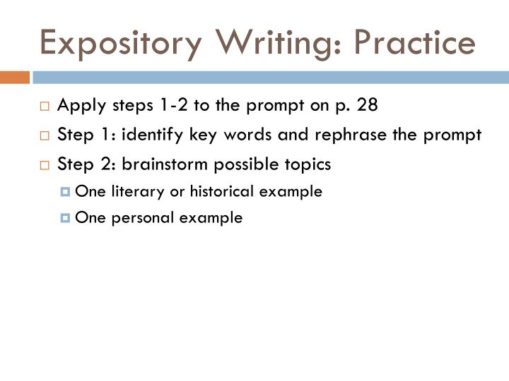 Expository Writing: Practice