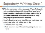 expository writing step 1