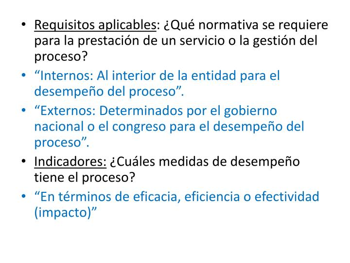 Requisitos aplicables