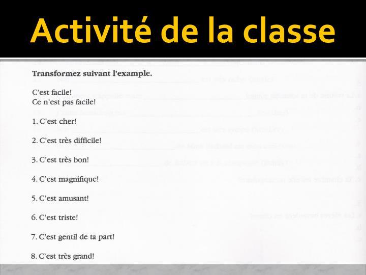 Activité de la classe