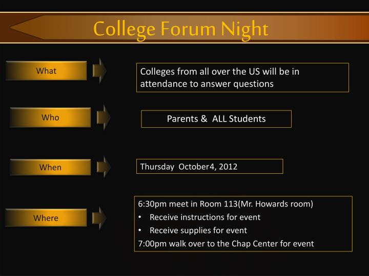 College Forum Night