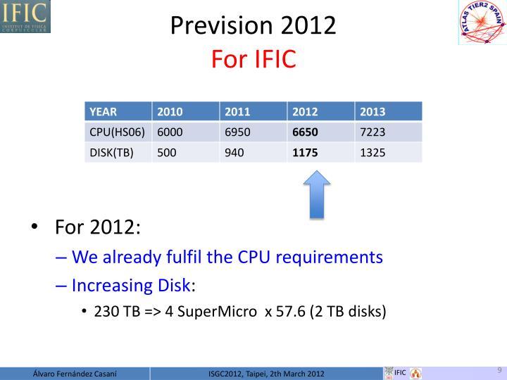 Prevision 2012