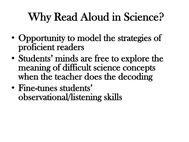 Why Read Aloud in Science?