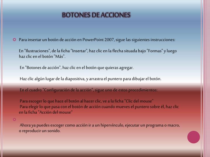 BOTONES DE ACCIONES
