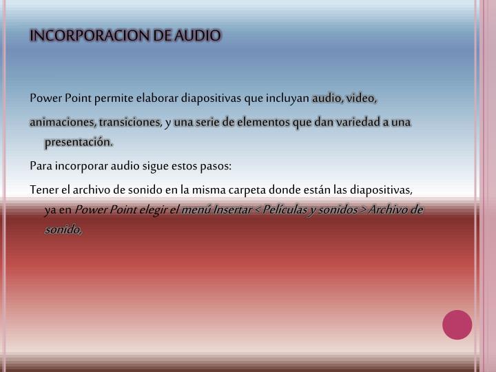 INCORPORACION DE AUDIO