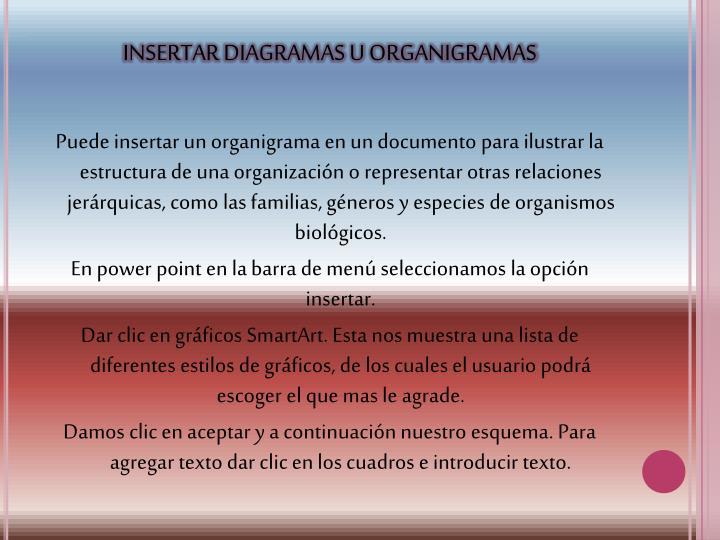 INSERTAR DIAGRAMAS U ORGANIGRAMAS