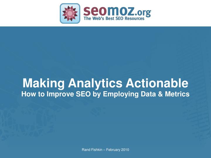 Making Analytics Actionable