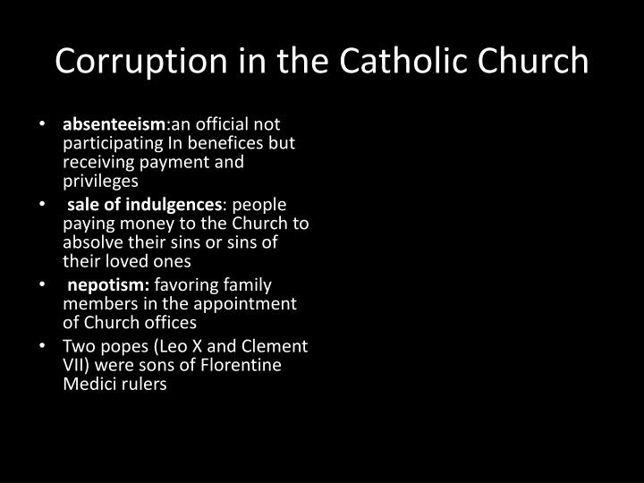 Corruption in the Catholic Church