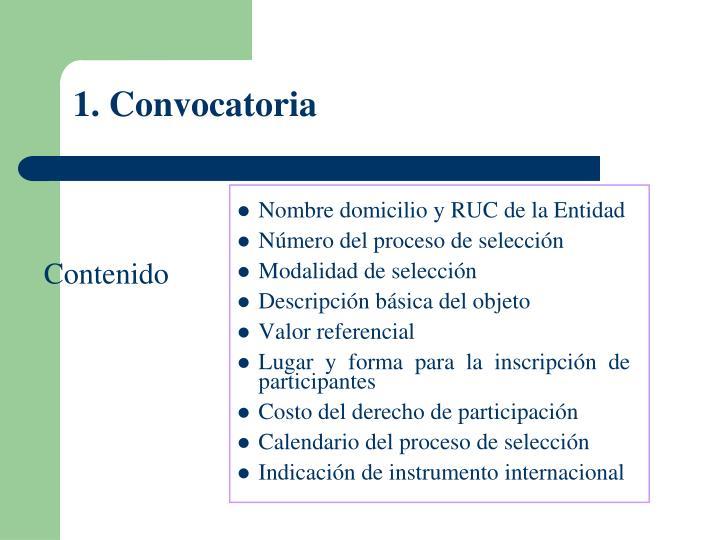 1. Convocatoria