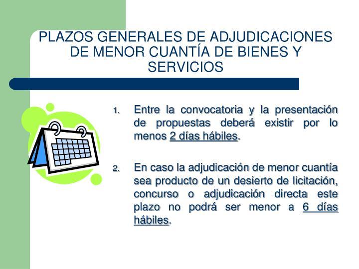 PLAZOS GENERALES DE ADJUDICACIONES DE MENOR CUANTÍA DE BIENES Y SERVICIOS