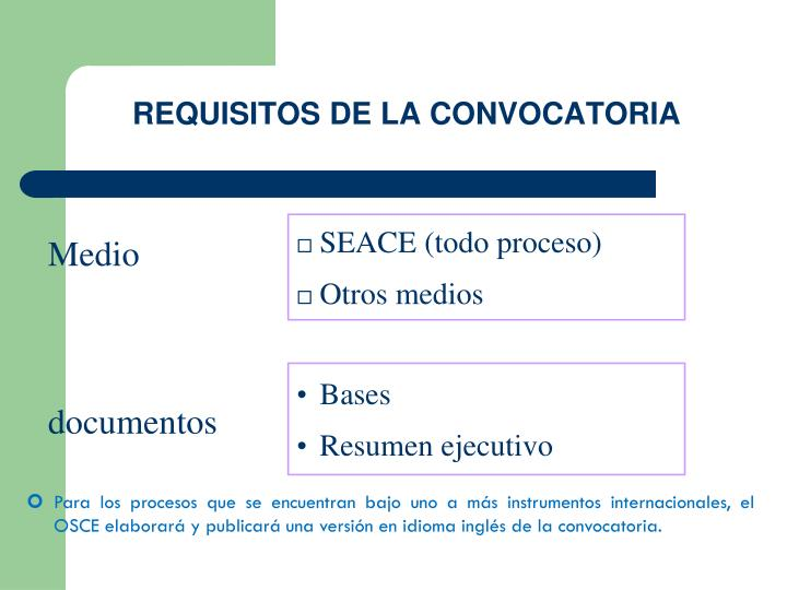 REQUISITOS DE LA CONVOCATORIA