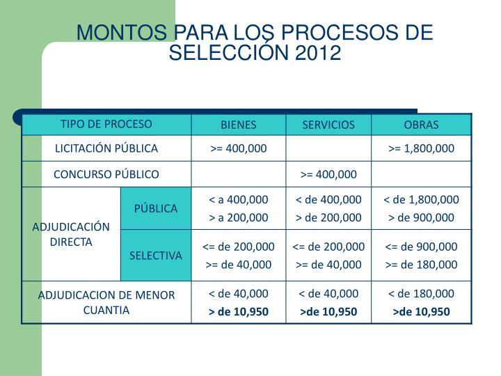 MONTOS PARA LOS PROCESOS DE SELECCIÓN 2012