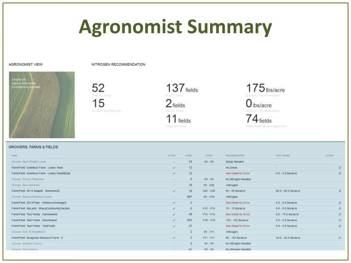 Agronomist Summary
