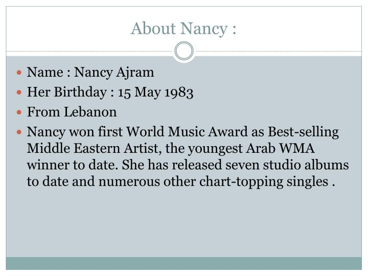About Nancy :