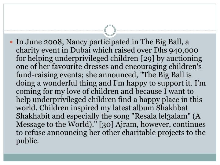 In June 2008, Nancy participated in The Big Ball, a charity event in Dubai which raised over